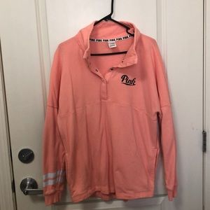 Pink VS Orange Half Button Sweater